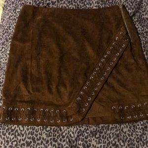 Brown Suede Skirt- Size M